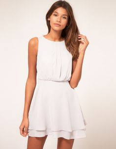 Beige Round Neck Sleeveless Hollow Chiffon Dress