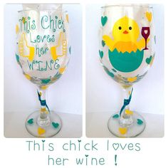 Easter Wine Glass This Chick Loves Her by CreateBeautywithLove, $20.00