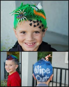 Crazy Hair Day Ideas - Question is, am I open minded enough to do this with my boys hair! Looks like fun!