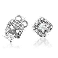 14k White Gold Princess Cut Diamond Stud With Removable Jacket Earrings 1 2