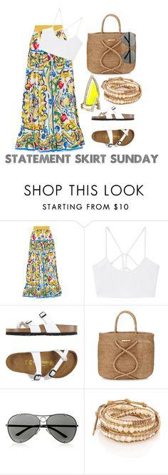 """Statement Skirt Sunday"" by luxurycitizen on Polyvore featuring Dolce&Gabbana, MANGO, Birkenstock, ViX, Valentino, Chan Luu and Alexis Bittar"