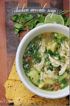 Chicken Avocado Soup 1 cup and 1/2 cup green onions, finely chopped, divided 1 tsp minced garlic 1 tomato, diced 3 - 14.5oz cans chicken broth 1/8 tsp cumin 1 tsp course salt 2 chicken breasts, cooked and shredded 2 avocados, diced into edible chunks 1/2 cup cilantro, finely chopped lime wedges