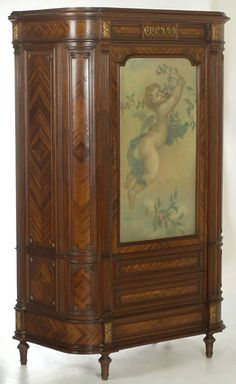 ~ 'Italian' Mahogany Armoire With Glass Door Backed With Hand Painted Silk ~ Real Wood Furniture, Cheap Patio Furniture, Furniture Ads, Italian Furniture, French Furniture, Furniture Styles, Fine Furniture, Painted Furniture, Victorian Furniture
