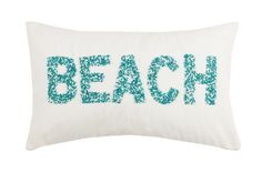 """This new 12"""" x 20"""" Turquoise, blue and aqua beaded and appliqued BEACH Pillow will add a finishing touch to any room that needs just a little reminder of coastal fun!"""