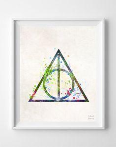 Deathly Hallows Print Harry Potter Art Print by InkistPrints