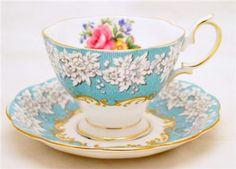 Irish tea cups and saucers | Royal Albert Aqua Rose Tea Cup and Saucer Enchantment Bone China ...