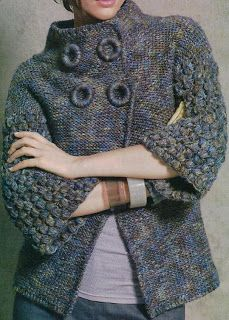From a Spanish site which can be translated but it is for crochet ~ hopefully will be able to work the schematics out for knitting ~ love the neckline and high buttoning. Make your own buttons ~ Instructions on my board, maker ~ button.