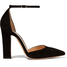 Gianvito Rossi Suede pumps ($660) ❤ liked on Polyvore featuring shoes, pumps, heels, block heel pumps, black pumps, black high heel shoes, ankle strap pumps and pointy-toe pumps