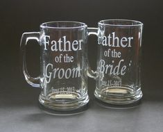 Custom Etched Beer Mug Set of 2 Wedding Father of the Bride Groom Bestman Groomsmen on Etsy, $44.00