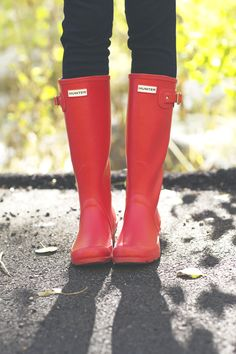 Red Hunter Boots for fall