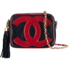Chanel Vintage logo stamp shoulder bag (2.856.550 CLP) ❤ liked on Polyvore featuring bags, handbags, shoulder bags, chanel, bolsas, blue, tassel purse, vintage handbags, blue purse and shoulder handbags