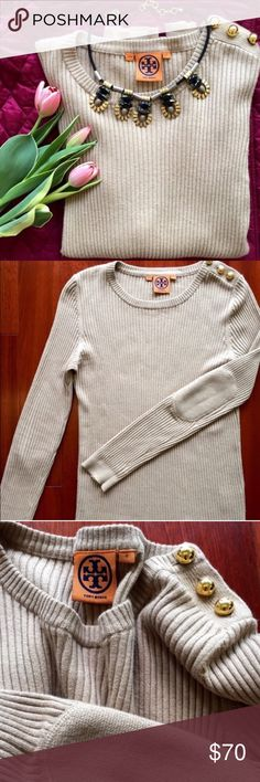 Tory Burch Sweater Beautiful cotton/cashmere blend sweater from Tory Burch! Cozy with elbow patches and gold button detailing. Tory Burch Sweaters Crew & Scoop Necks