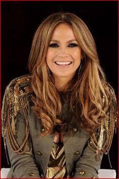 Lighter towards the front caramel highlights , Jennifer Lopez