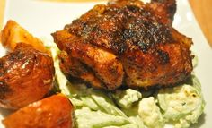 Buffalo Chicken Thighs & Celery & Blue Cheese Slaw - I'd double t...