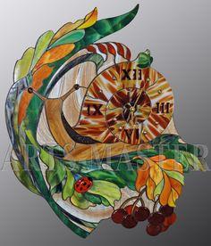 """Декоративные часы """"Улитка"""". 60 х 50 см. Тиффани, фьюзинг."""