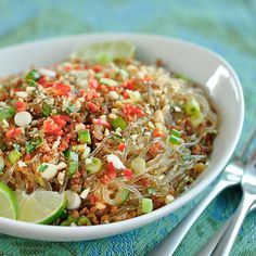 Spicy Glass Noodles with Crispy Pork recipe ( I use shrimps and a little bit of ground beef instead of the pork and lots of really hot chilli , it´s my favorite Thai dish )