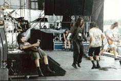 Chris and Eddie on stage 1992 lollapalooza