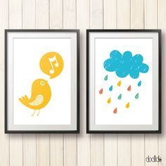 Children wall art pack, kids poster, nursery poster, cloud poster, nursery decor by Dodlido on Etsy