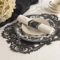 Black Laser-Cut Place Mat - perfect as a place setting for a #blackandwhitewedding, #weddingshower or other #specialevent!