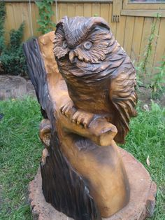 This owl wood carve is a hoot.