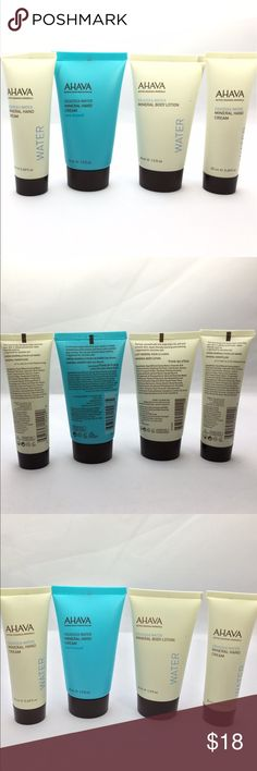 New Ahava 4-Piece Skincare Best Sellers Set Brand new, sealed 4-Piece Best Sellers Bundle of Ahava Products, all safe for sensitive skin Includes: Ahava Deadsea Water Mineral Hand Cream in Sea-Kissed, 1.3 fl oz -- Ahava Deadsea Water Mineral Body Lotion- Water, 1.3 fl oz -- 2- Ahava Deadsea Water Mineral Hand Cream - Water, .68 fl oz each -- Paraben free, allergy tested, cruelty free + vegan - From smoke free home Offers ok:) - #ahava #ahavalotion #ahavaskincare #handcream #bodylotion…