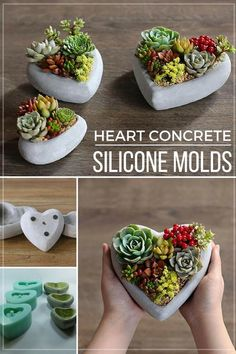 Cute heart reusable silicone mArts And Crafts ClipartI love these pebble flower pots. With the silicone mold I can make my own flower pot collection. Cement Flower Pots, Concrete Crafts, Concrete Projects, Concrete Garden, Concrete Planters, Flower Planters, Diy Planters, Concrete Cement, Succulent Arrangements