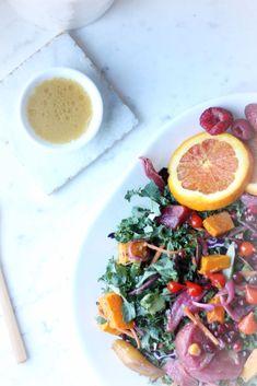 Holiday Citrus Salad with Manuka Honey - Wedderspoon Roasted Beets, Roasted Butternut Squash, Roasted Carrots, Purple Cabbage, Manuka Honey, Pomegranate Seeds, Blood Orange, Kale, Salads