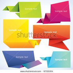 stock vector : set of origami banners, vector illustration