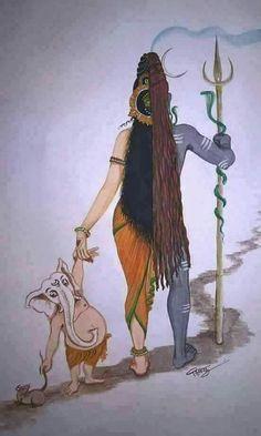 Ardhanarishvara and Ganesha Equality in gender b Durga Goddess, Indian Art Paintings, Shiva Shakti, Art, Shiva Art, Lord Shiva Hd Images, Krishna Art