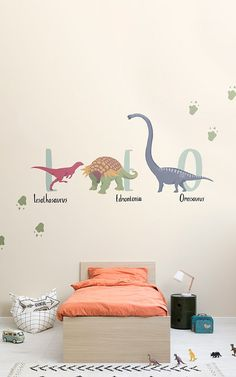 Take your children back in time with our fabulous dinosaur wallpaper. Modern Kids Bedroom, Cool Kids Bedrooms, Name Wallpaper, Kids Wallpaper, Wall Murials, Bedroom Wall, Bedroom Decor, Dinosaur Wallpaper, Dinosaur Bedroom