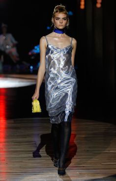 SS12 - Nimue: Metallic Gingham Dress; Silk Slip dress;  Yellow Fringe Suzie handbag; Mirror Pump