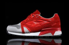 Italian shoe brand Diadora'sN9000 returns this season in a red/grey colorway. Sporting a mixture of mesh, suede and nylon textures, the upper flaunts a bright red hue, conjoined with a solid grey upp...