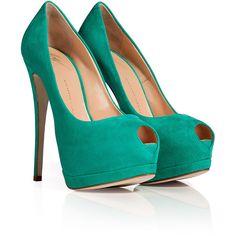 GIUSEPPE ZANOTTI Mint Green Suede Peep Toe Pumps ($695) ❤ liked on Polyvore