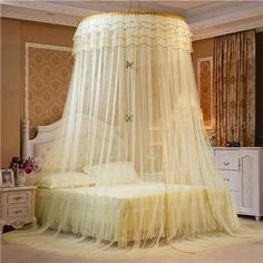 LOVEWM Luxury Romantic Hung Dome Mosquito Net Princess Insect Bed Canopy Netting Lace Round Mosquito Nets Curtain for Bedding Lace Bedding, Yellow Bedding, My New Room, My Room, Bed Curtains, Canopy Crib, Bed Valance, Canopy Bedroom, Hanging Beds