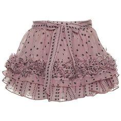 Supertrash Girls 'Samira' Pink Chiffon Star Print Frill Skirt ($83) via Polyvore