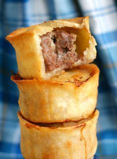 Gluten-free Scottish meat pies - hot out of the oven with vinegar. One if the best treats ever! Fiona Andrew you know what I mean :) Scottish Dishes, Scottish Recipes, Irish Recipes, Pie Recipes, Great Recipes, Cooking Recipes, Favorite Recipes, Scottish Meat Pie Recipe, English Recipes