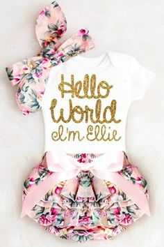 Hello World Onesie for Baby Girls Coming Home Outfits. The perfect newborn girl gift! #babygirlclothes #helloworld #babygirloutfits Boho Baby Clothes, Newborn Baby Girl Clothes, Summer Clothes, Fall Clothes, Dress Clothes, Girls Coming Home Outfit, Take Home Outfit, Going Home Outfit, Newborn Coming Home Outfit