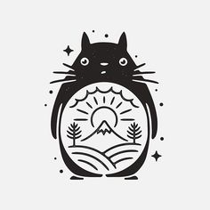 Totoro! #graphicdesign #design #art #artwork #drawing #handdrawn #tattoo #studioghibli #ghibli #totoro #illustration #slowroastedco #blackworknow #blackwork