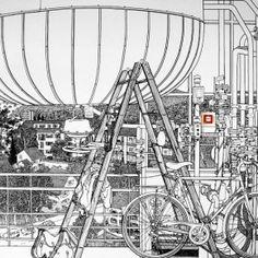 """Charlotte Mann is a British artist who creates designs in 1:1 scale on a wall, only with a black marker. Charlotte Mann says of her work: """"I'm fascinated by the paradox of attempting to represent an environment with depth, life-sized but in two dimensions. Charlotte Mann è un artista britannica che crea disegni in scala 1:1 su parete, solo con un pennarello nero. Charlotte Mann dice del suo lavoro: """"Sono affascinata dal paradosso di tentare di rappresentare un ambiente con la profondità, la…"""