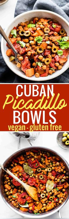 Cuban Sweet Potato Picadillo Bowls make for a wholesome Latin-inspired weeknight meal! This vegan picadillo recipe is the perfect combo of sweet and savory. Stewed Tomatoes, roasted chickpeas, sweet potatoes, olives, raisins, and spices! Simple healthy ingredients made into a flavorful one pot meal. Gluten free, grain free, EASY! @cottercrunch www.cottercrunch.com