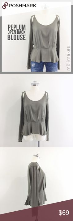 """🆕 LOLA VS. HARPER • NWT olive forget peplum top • NWT Brand new with tags olive peplum top from Australian brand Lola Vs. Harper • cut out slit details at the collar bone • peplum hem • long sleeves with square button detail • back has open slit with invisible zip on the peplum • comes with extra button • Australian size 14 = to a medium / large (see measurements)  100% rayon  ✂️  Bust = 48"""" ✂️  Waist = 35"""" ✂️  Shoulder = 17"""" ✂️  Length = 23""""  • sorry no trades • please feel free to ask any…"""