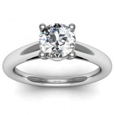 Petite Cathedral Solitaire Engagement Ring set in 18k White Gold  In stockSKU: C1022-18W