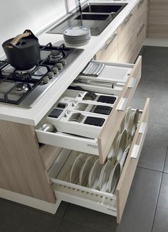 Luxury Kitchens 20 Modern Dish Storage Design Ideas For Luxury Kitchen Clever Kitchen Storage, Kitchen Drawer Organization, Kitchen Drawers, Kitchen Cabinet Design, Diy Kitchen, Kitchen Decor, Kitchen Ideas, Kitchen Upgrades, Kitchen Soffit