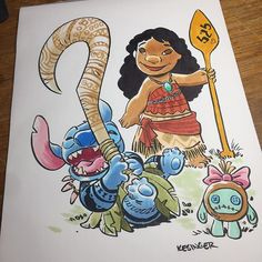 Here's a better look at the #Moana #liloandstitch mashup I did for my art drop at #wondercon.