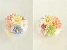 パステルカラーの花束 帯留め つまみ細工