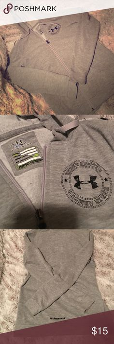 Under armor zip up hoodie Super comfy under armor zip up hoodie. Perfect to throw on to head to the gym or enjoy a lazy day around the house. Thanks for looking! Under Armour Tops Sweatshirts & Hoodies