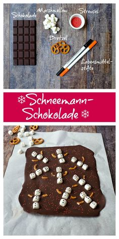 Schneemann-Schokolade - New Ideas Homemade Christmas Gifts, Christmas Desserts, Christmas Treats, Christmas Baking, Homemade Gifts, Christmas Cookies, Christmas Time, Xmas, Homemade Snickers
