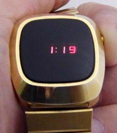 1970s-Era Men's Red LED Wrist Watch, Inside Case Marked Buler Watch Ltd, Swiss Case.