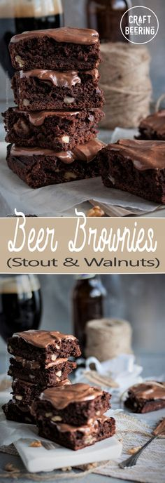 Beer Brownies with Stout - Cakey or Fudgy (with Cream Cheese Frosting) Chocolate Cream Cheese Frosting, Brownie Frosting, Cookie Brownie Bars, Beer Recipes, Brownie Recipes, Dessert Recipes, Desserts, Irish Recipes, Fudgy Brownies