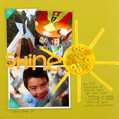 Add Summer Paper Piecings to Outdoor Scrapbook Pages  Design by Jamie Waters